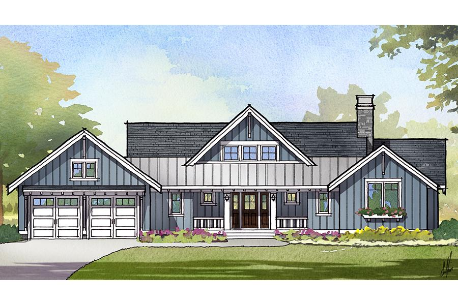Front Rendering of Herring House Plan. This craftsman style floor plan is 2679 sq ft and has 3 bedrooms, 2.5 bathrooms, 1 floor, and a 2 car garage.