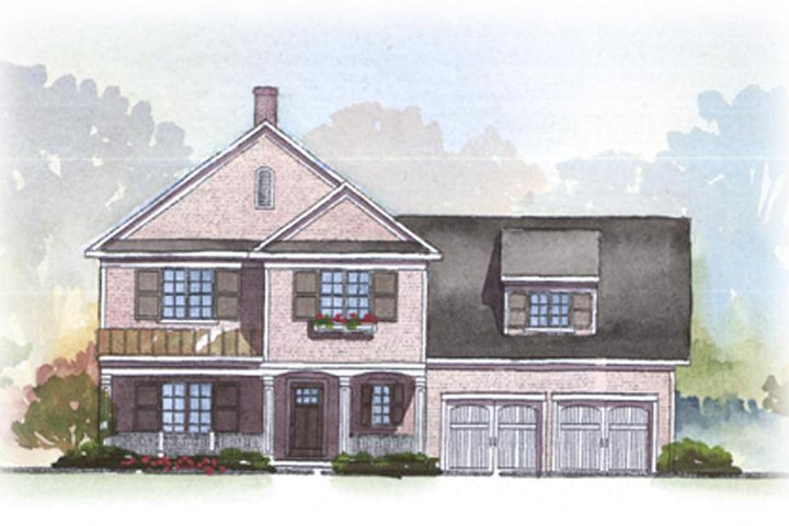 Front rendering of Ivanhoe house plan has 2728 sq ft, 4 bedrooms, 3.5 bathrooms, 2 floors, and a 2 car garage
