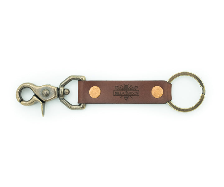 Leather Key Snap - Brown