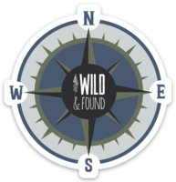 Wild and Found Compass Sticker - Blue