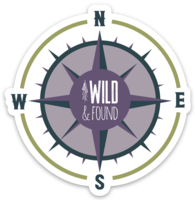 Wild and Found Compass Sticker - Purple