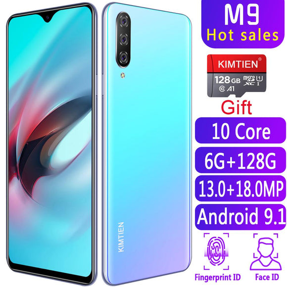 Smartphone M9 Cellphones 6GB+128GB 10 core Android 9.1 .4G