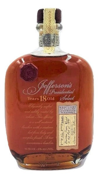 Jefferson's Presidential Select 18 Year Old Bourbon Batch 10 For Sale - NativeSpiritsOnline