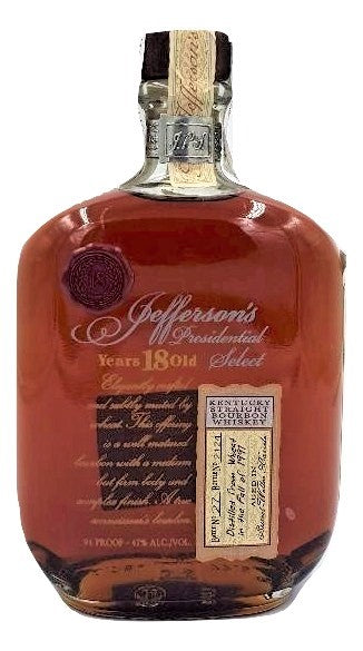 Jefferson's Presidential Select 18 Year Old Bourbon Batch 27 For Sale - NativeSpiritsOnline