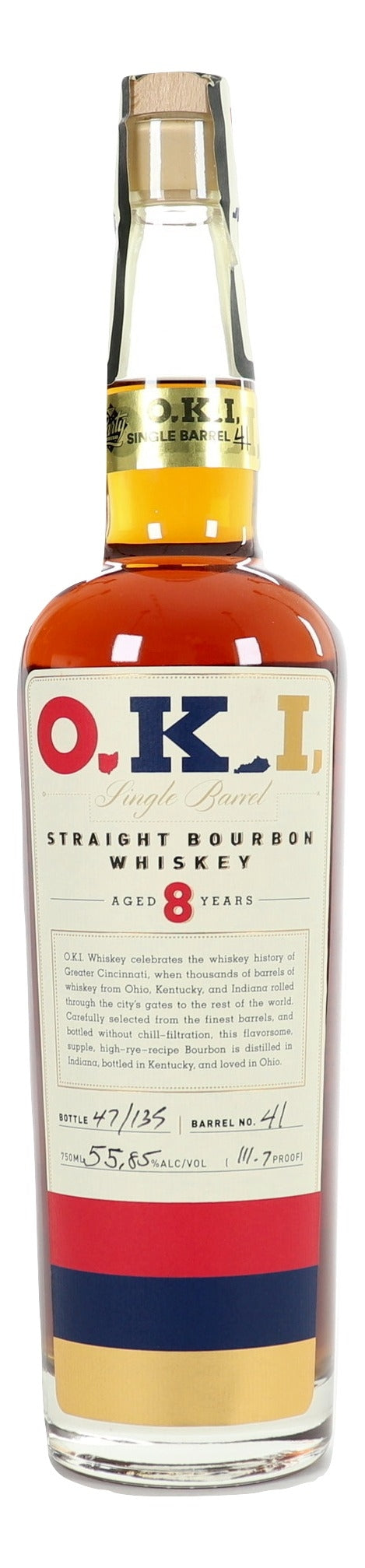 O.K.I. 8 Year Old Straight Bourbon Whiskey Single Barrel For Sale - NativeSpiritsOnline