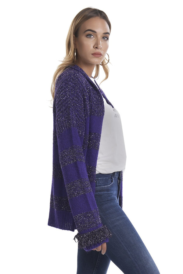 Cardigan a righe con frange in lurex MIMEN