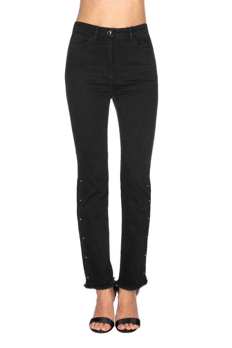 Panta CHRIST vita alta slim fit con spacchi e piercing