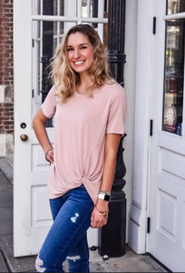 Do The Twist Short Sleeve Top - Dusty Peach