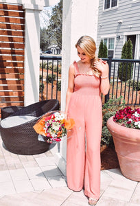 Coral Smocked Jumpsuit