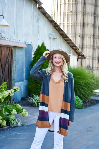 Cocoa & Lattes Stripe Cardigan in Olive