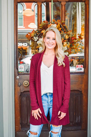 My Sweetest Obsession Cardigan In Wine