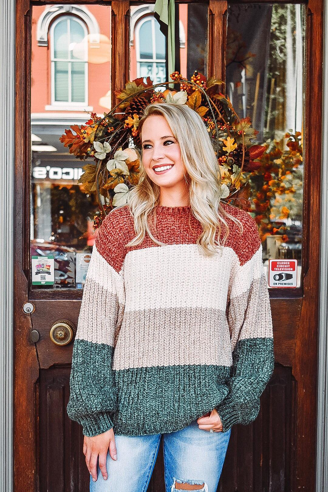 Falling Acorns Colorblock Sweater