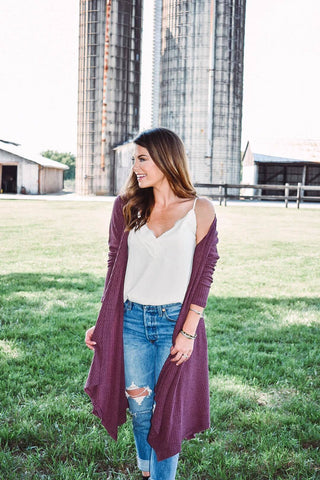That Fall Feeling Cardigan in Plum