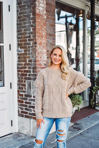 Cafes and Lattes Fringe Sweater
