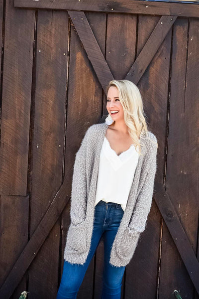 Fuzzy Feels Knit Cardigan in Oatmeal