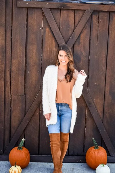 Fuzzy Feels Knit Cardigan in Ivory