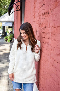 Oh So Warm Sherpa Pullover in Ivory