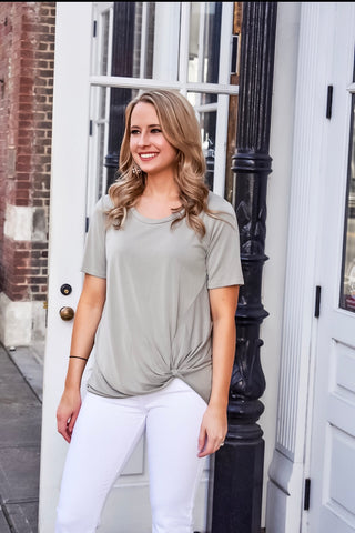 Do The Twist Short Sleeve Top in Sage