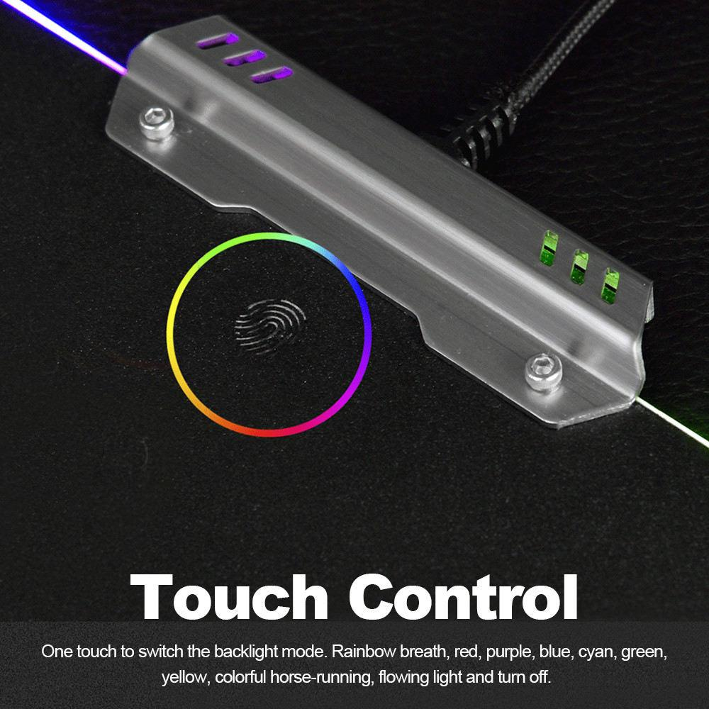 Rgb Hard Gaming Mousepad With 9 Lighting Modes & Touch Control