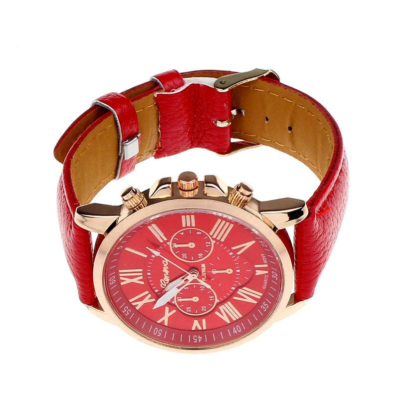 a red and white clock