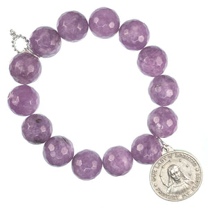 Wisteria agate paired with an Our Lady of Loretto medal
