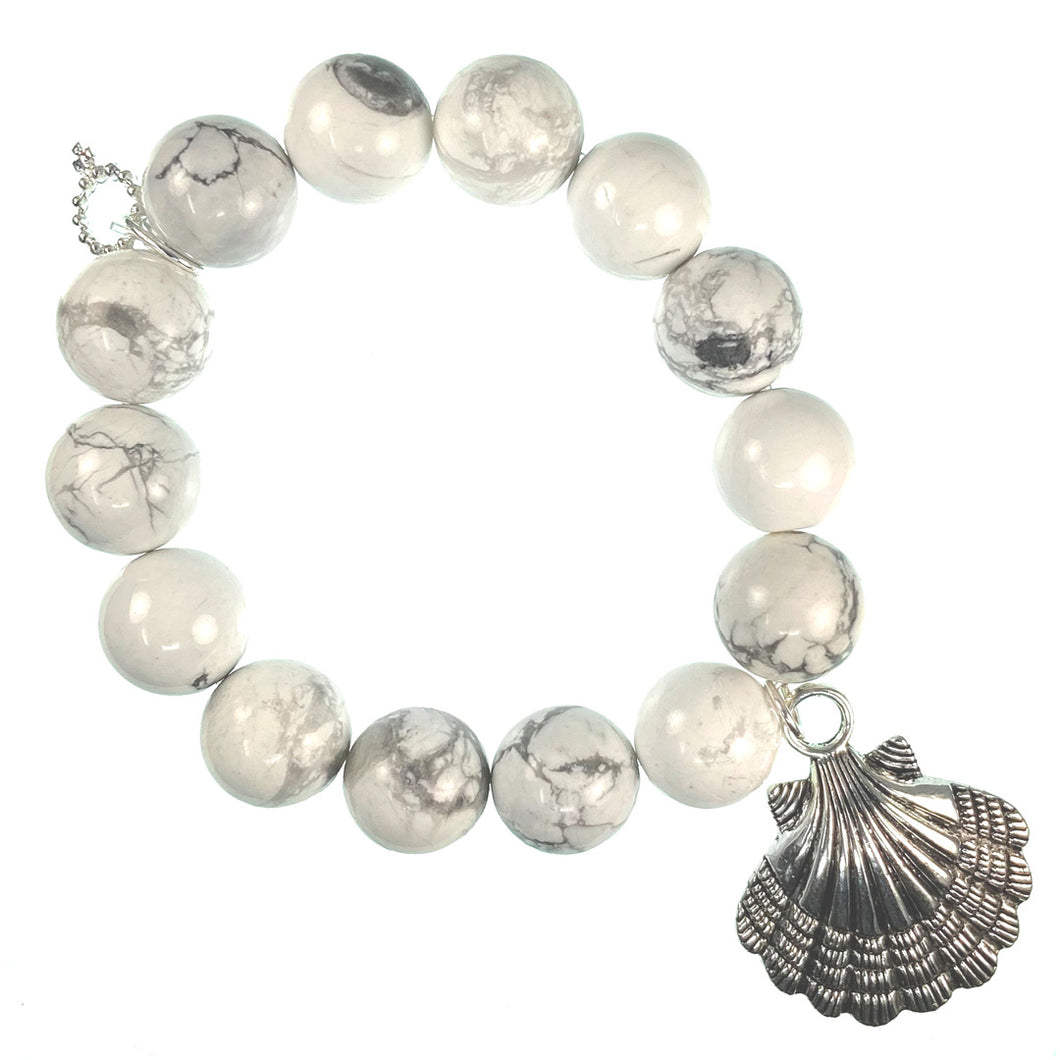 Bright white howlite paired with a silver shell