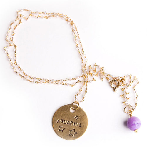 Clear quartz rosary chain necklace with lavender agate accent and hand stamped bronze Aquarius medal