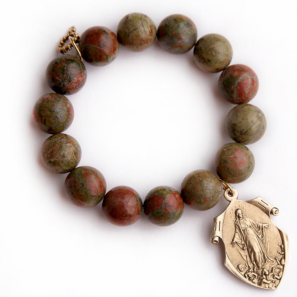 Unakite paired with a bronze queen of heaven medal
