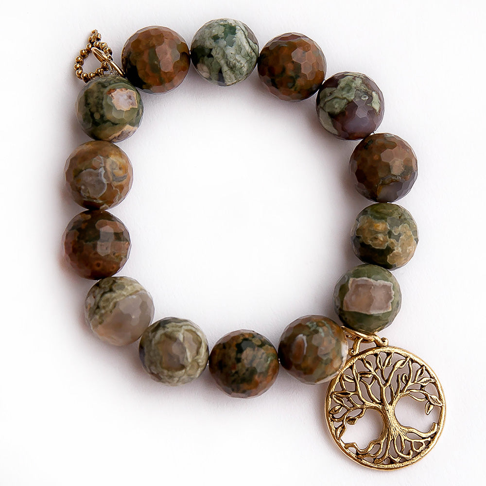 Faceted California camouflage agate paired with a bronze open vein tree of life