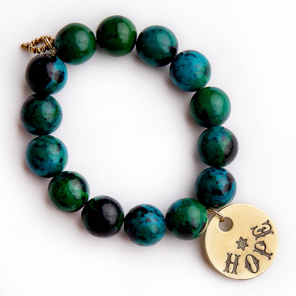 Chrysocolla paired with a hand stamped bronze Hope medal