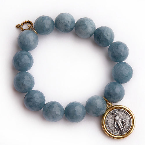 Faceted chambray agate paired with a two toned Blessed Mother medal