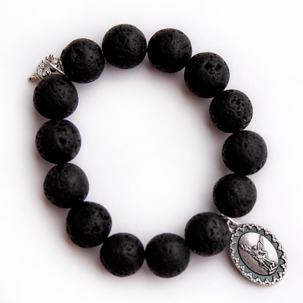 Black Lava paired with an oval Saint Michael medal