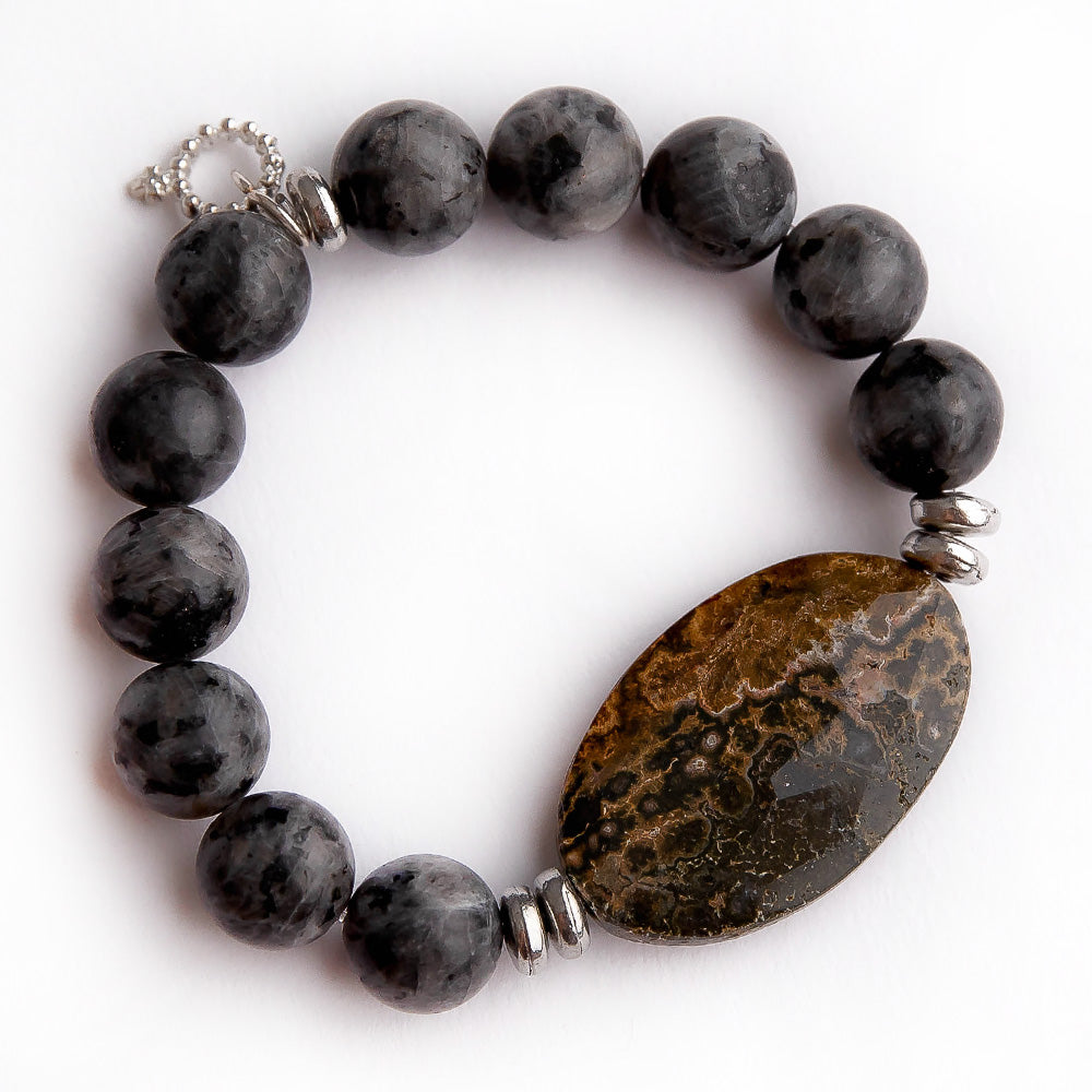Charcoal jasper paired with brown faceted statement slice and silver accent beads