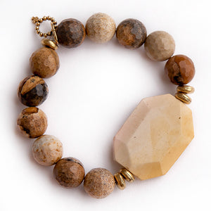 Faceted picture jasper paired with burnt yellow statement slice and gold accent beads