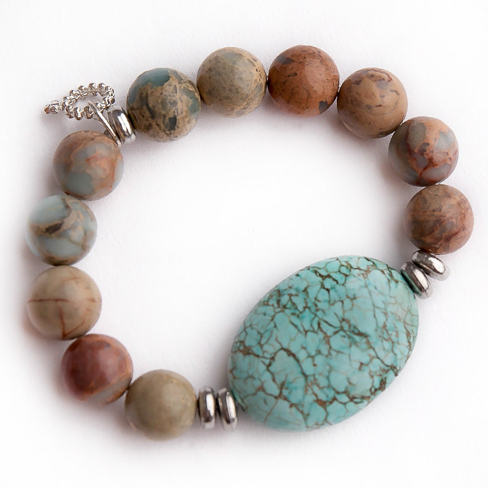 Aqua terra jasper paired with blue howlite statement slice and silver accent beads