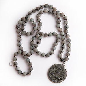 Kiwi jasper hand tied gemstone necklace paired with a slate Buddha pendant