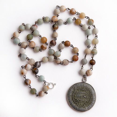 Amazonite rosary chain gemstone necklace paired with slate Buddha pendant