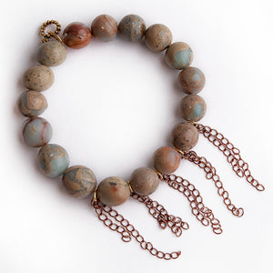 Aqua terra jasper paired with rose gold fringe