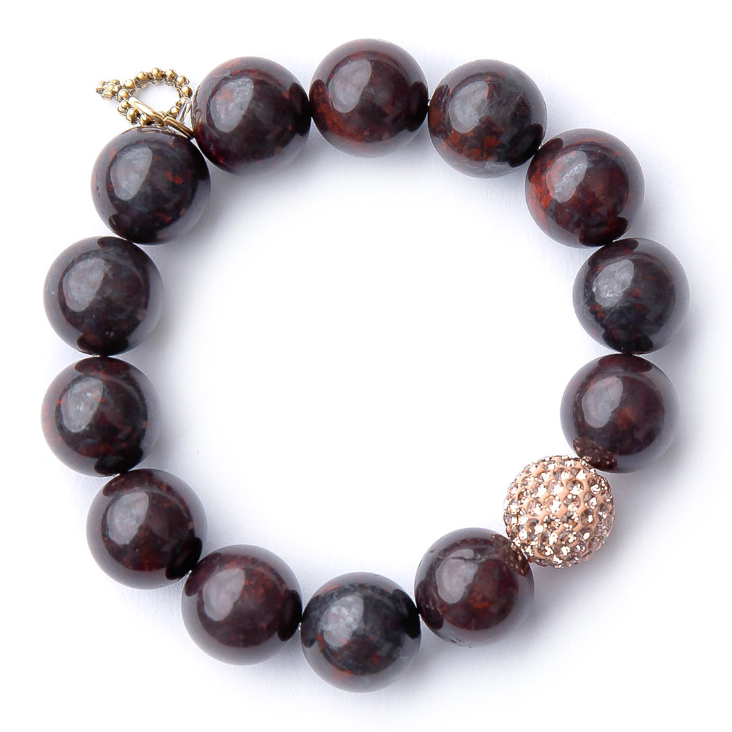 Oxblood jasper with a gold micropave