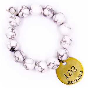 Bright white howlite with Bible verse Romans 12:2