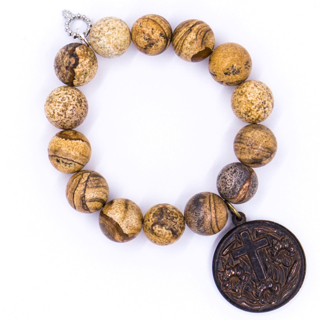 Picture jasper with sliding Lord's prayer medal