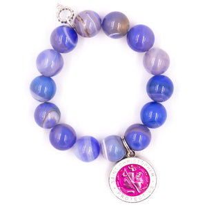 Cornflower stripe agate with pink enameled St. Christopher medal
