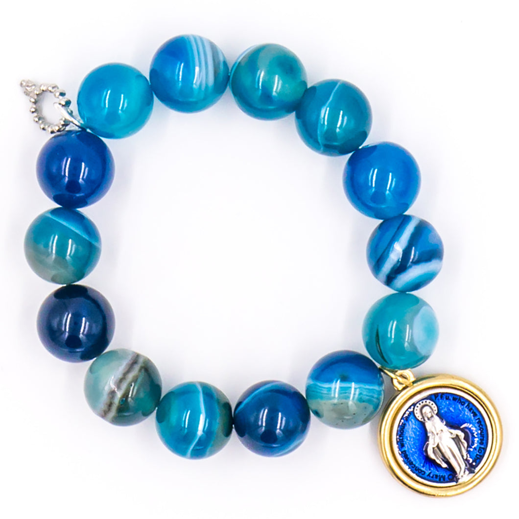 Blue stripe agate with blue enameled Mary