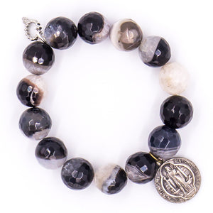 Faceted crescent agate with silver St. Benedict