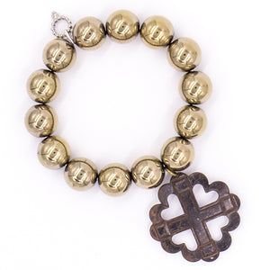 Gold hematite with dark bronze heart cross