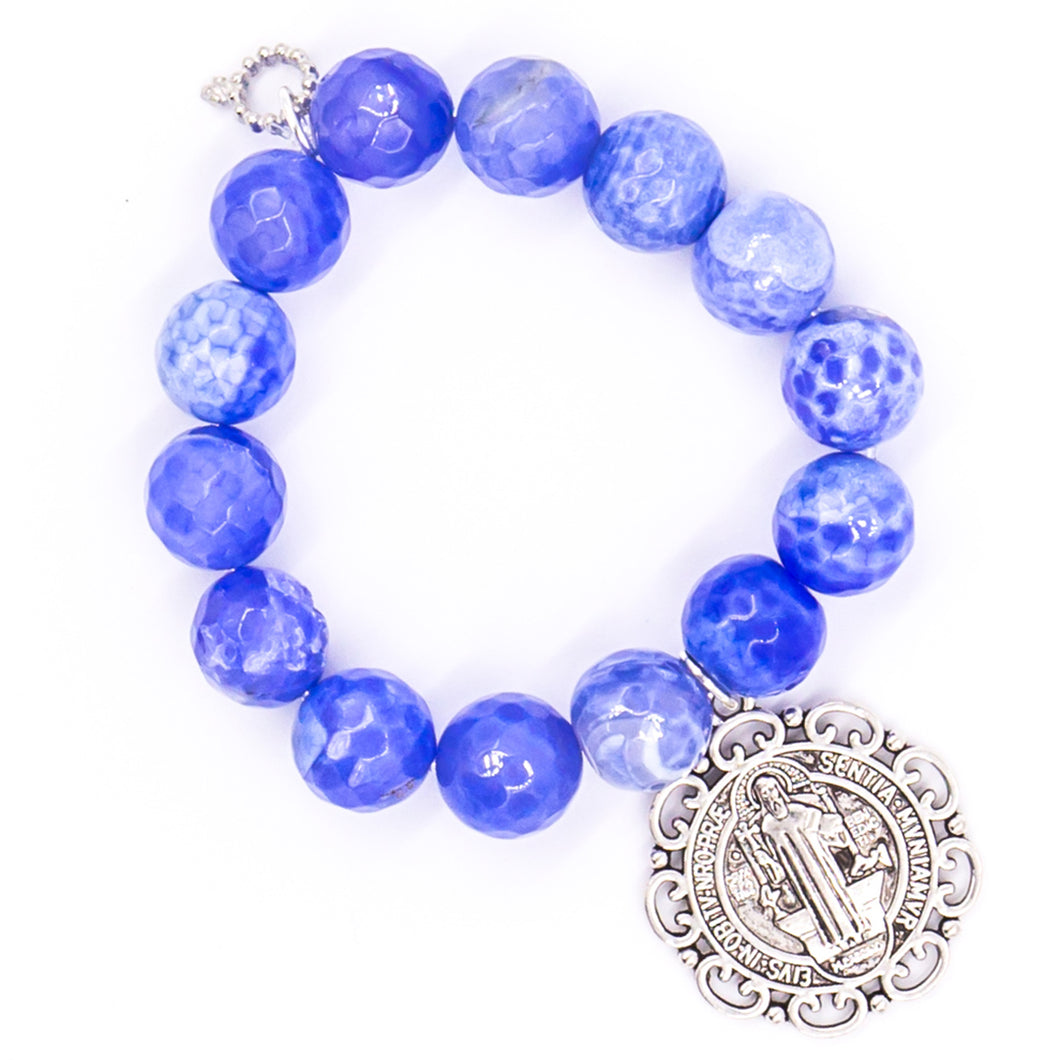 Faceted periwinkle with St. Benedict medal