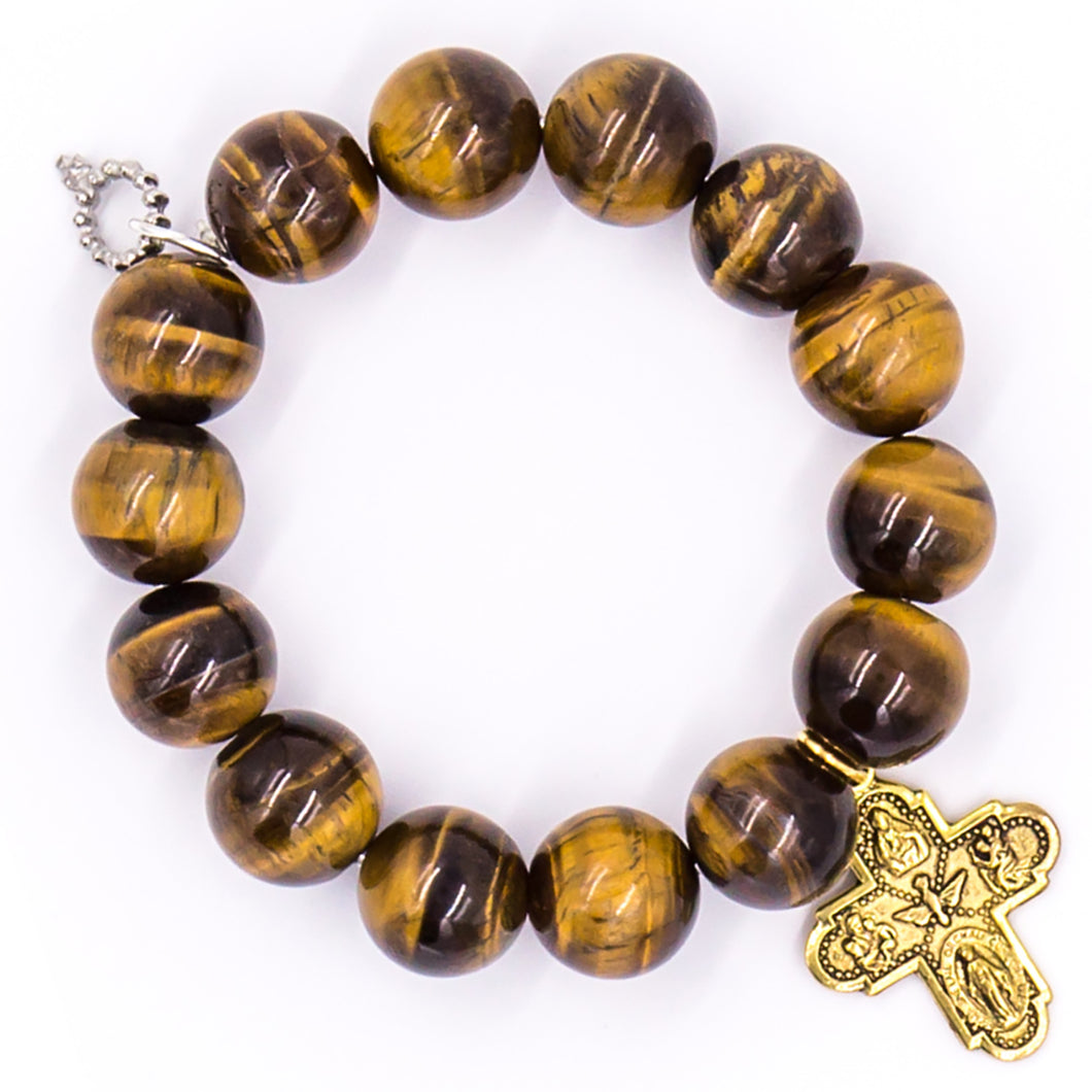 Tiger eye with brass 5-way cross
