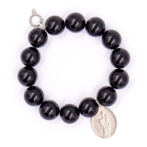 Black onyx with silver medal