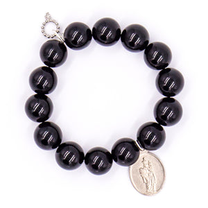 Black onyx with silver religious medal