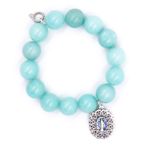Aqua jade with ornate Blue Sparkle Mary